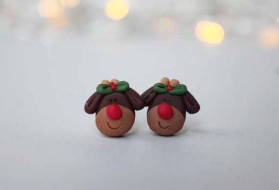 Rudolph the Reindeer Earrings - Christmas Earrings - Secret Santa Gift - Christmas Gift - Holiday Earrings - Christmas Jewelry - Clay Studs