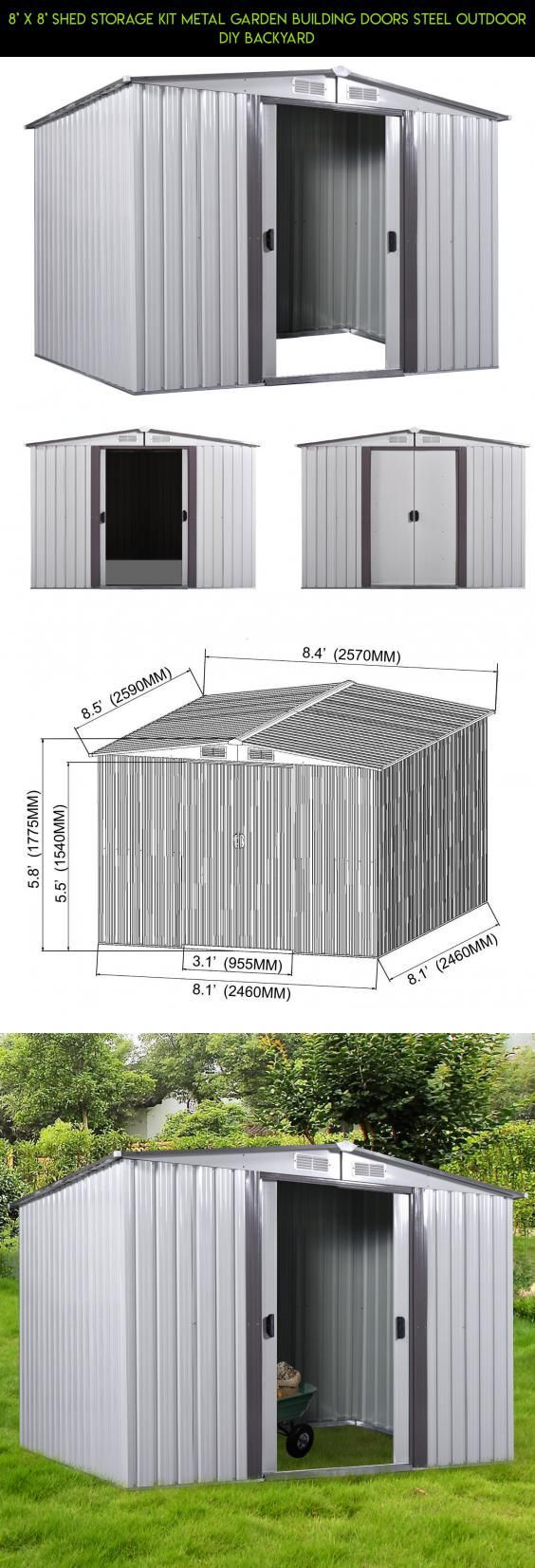 8' x 8' Shed Storage Kit Metal Garden Building Doors Steel Outdoor DIY Backyard #gadgets #fpv #drone #technology #plans #storage #8x8 #products #racing #camera #parts #kit #tech #shopping #DIYShed8x8