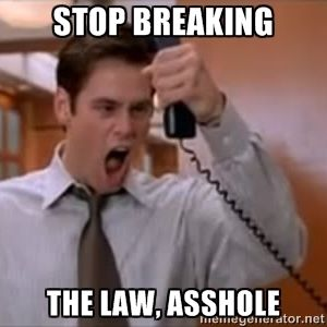 Loving that stop breaking the law asshole video