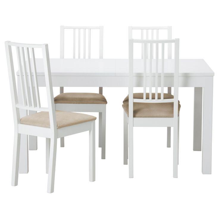 BJURSTA/BÖRJE Tavolo e 4 sedie - bianco/Kungsvik sabbia - IKEA