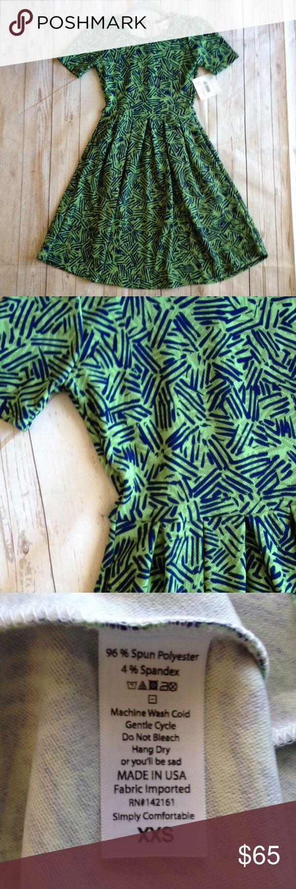 BNWT LuLaRoe Amelia Dress Green Base, Navy Accents.  Stretchy.  Pleated skirt.  HIDDEN  POCKETS!!  Zippered Back LuLaRoe Dresses