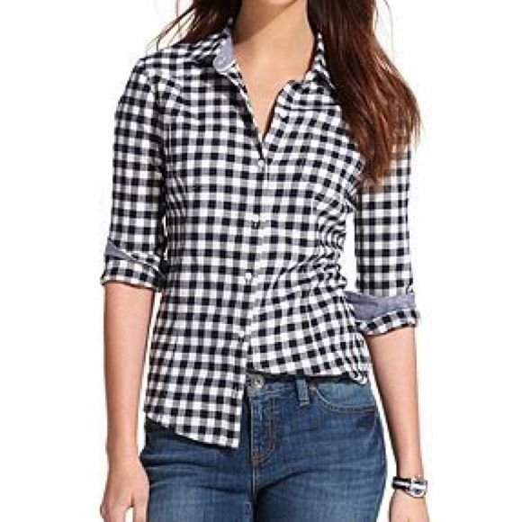 Tommy hilfiger gingham button down blue and white gingham for Blue gingham button down shirt