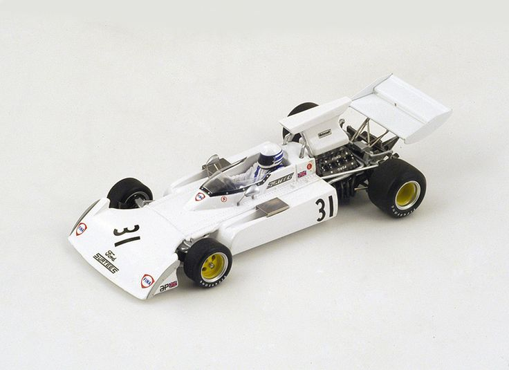 Spark 1:43 Surtees TS14 Resin Model Car S4003 This Surtees TS14 No.31 (Jochen Mass - British GP 1973) Resin Model Car is White and features comes in a display case. It is made by Spark and is 1:43 scale (approx. 10cm / 3.9in long). #Spark #ModelCar #Surtees #MiniModelRaceCars
