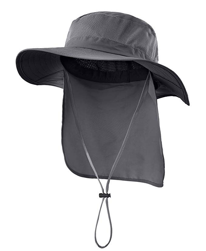 Mesh Sun Hat Wide Brim Fishing Hat With Long Neck Flap Home Outdoor UPF50