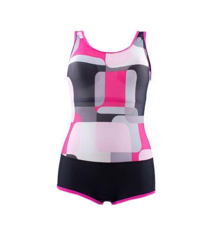 Colorblock Tankinis Women's Boyleg Swimsuit One Pieces, Medium