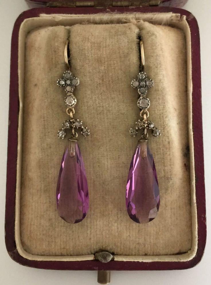 A Wonderful Pair Of Georgian Rose Cut Diamond & Amethyst Earrings Circa 1800's
