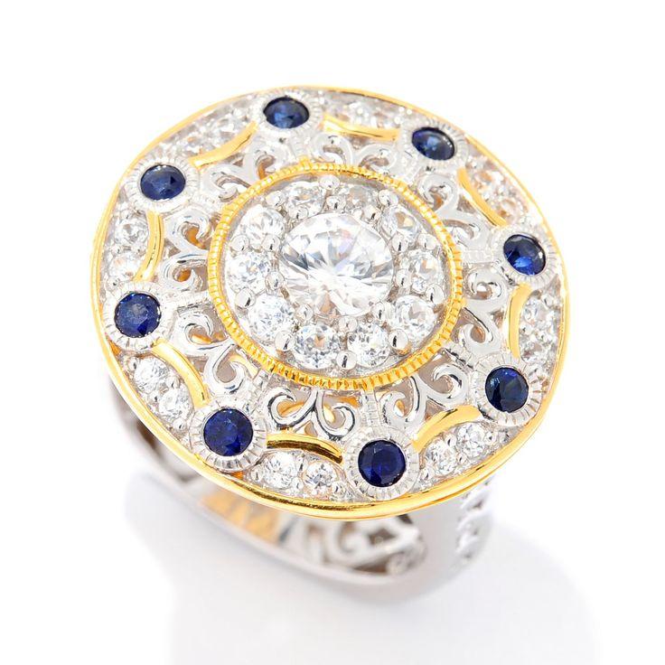 155-699 - Gems en Vogue 1.86ctw White Zircon & Sapphire Medallion Ring