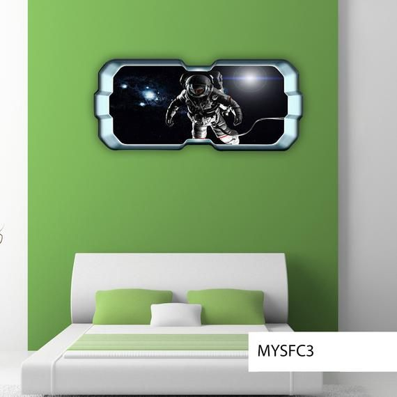 Space Planet Astronaut Window Galaxy Stars Full Colour Wall Etsy Sticker Wall Art Space Planets Wall Colors