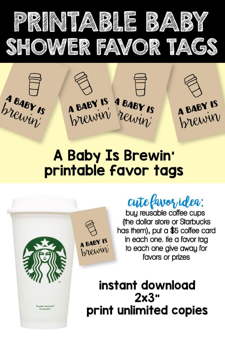 printable baby shower tags for baby shower prizes - A Baby Is Brewin'