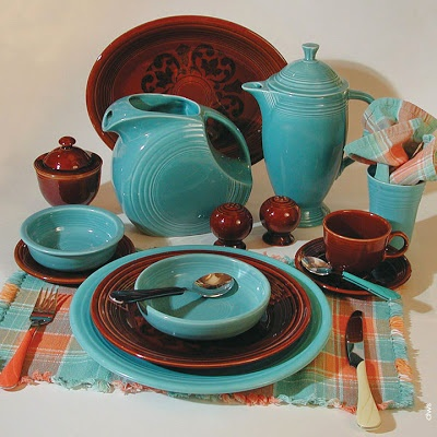 Fiestaware Vintage Turquoise with Amberstone- I thought about trying to collect Amberstone, but I'm happy with Chocolate. :)