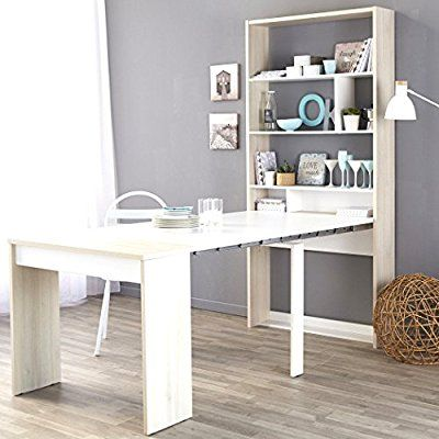 Wandregal Sibo 90x196x49 207 Cm Akazie Weiß Mit Tisch Ausziehbar Esstisch  Multifunktionsregal Bücherregal Schreibtisch