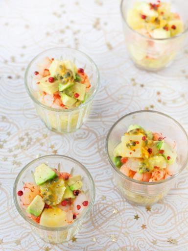 Verrine de crevettes aux fruits exotiques et huile de vanille