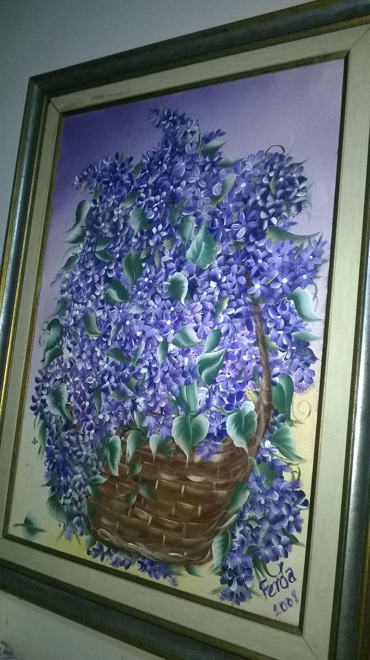 #one #stroke #leylak sepeti #eskilerden #hobi #akrilik #boya #çiçekler #leylaklar