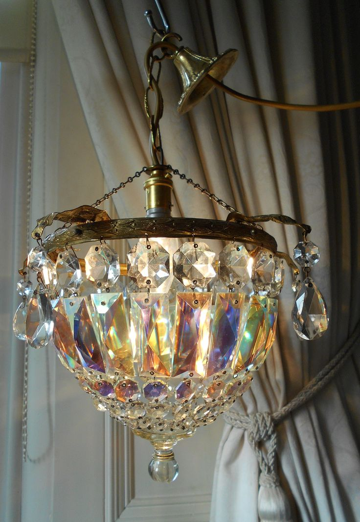 Vintage ab crystal bag chandelier · crystal lampscrystal