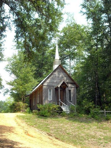 Little Chapel at Booker's Mill near Evergreen, AL. Booker's Mill is an old 200 acre pioneer farmstead located in Southwest Alabama about seven miles northwest of Evergreen. The mill site was first purchased by the John Guice family shortly after the civil war in the 1860's.