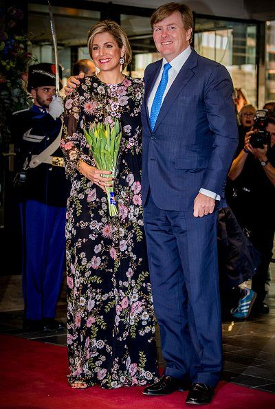 King Willem Alexander, Queen Maxima, Princess Beatrix and Prince Constantijn attend the King's Day concert (Koningsdagconcert) at Theaters Tilburg in Tilburg on April 3, 2017. The concert is being held in honour of Kings day, which is celebrated on April 27. Queen Maxima wore Giambattista Valli Appliquéd Floral Print Silk Gown