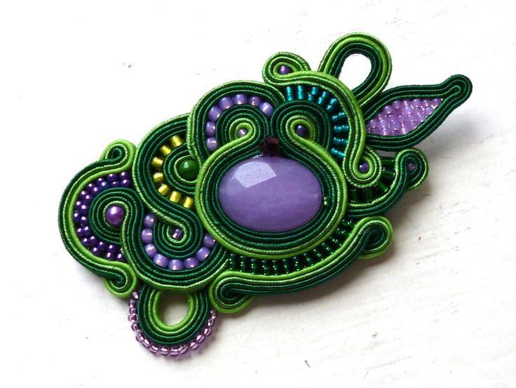 Brooch-pendant soutache Green-Lilac Jade Glamour! de Soutache4You por DaWanda.com