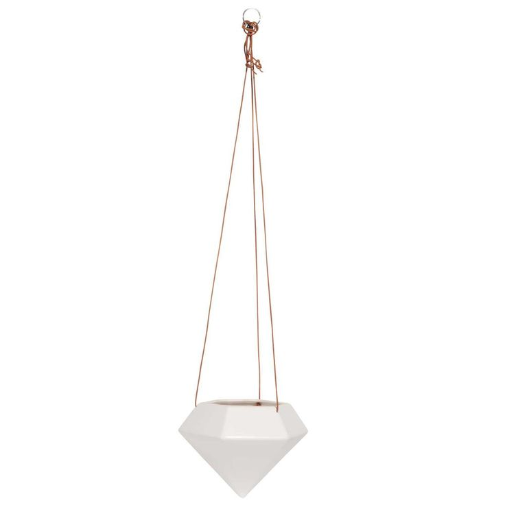 DIAMS dolomite and cowhide hanging planter