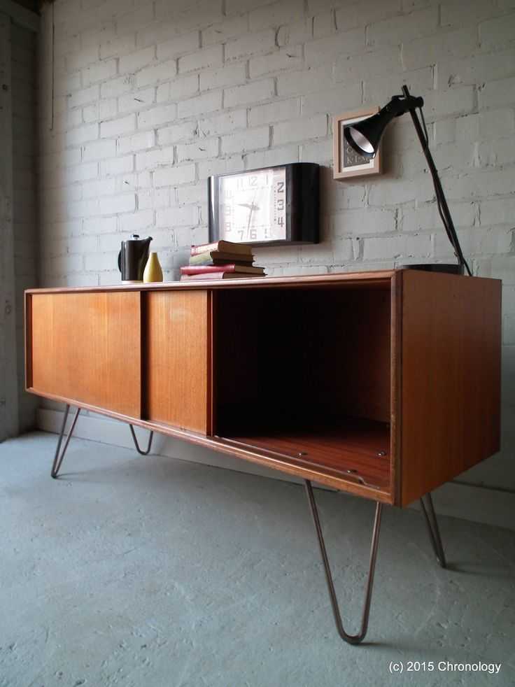 vintage retro teak 60s g plan sideboard industrial hairpin legs danish nathan ebay. Black Bedroom Furniture Sets. Home Design Ideas