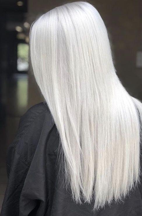 White platinum blonde silver long straight hair