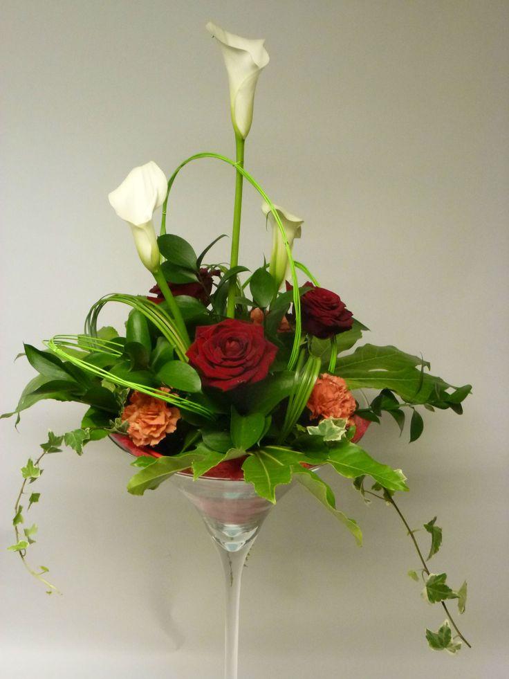 Centre de table en vase martini fleurs pour mariage en - Vase en plastique pour centre de table ...