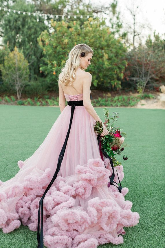 Pink Black Wedding Dress Los Robles Greens In Thousand Oaks Outdoor Venue Photo Jenny Quicksall