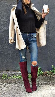 For a relaxed casual vibe, wear distressed denim with knee high-boots in a fun fall color.