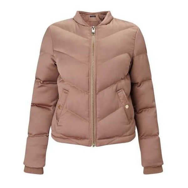 Blush Satin Puffer Bomber Jacket ❤ liked on Polyvore featuring outerwear, jackets, puffy jacket, brown jacket, miss selfridge, puffer jacket and brown puffer jacket