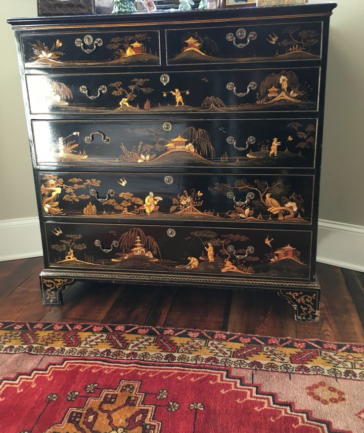 Antique Black Chinoiserie Chest