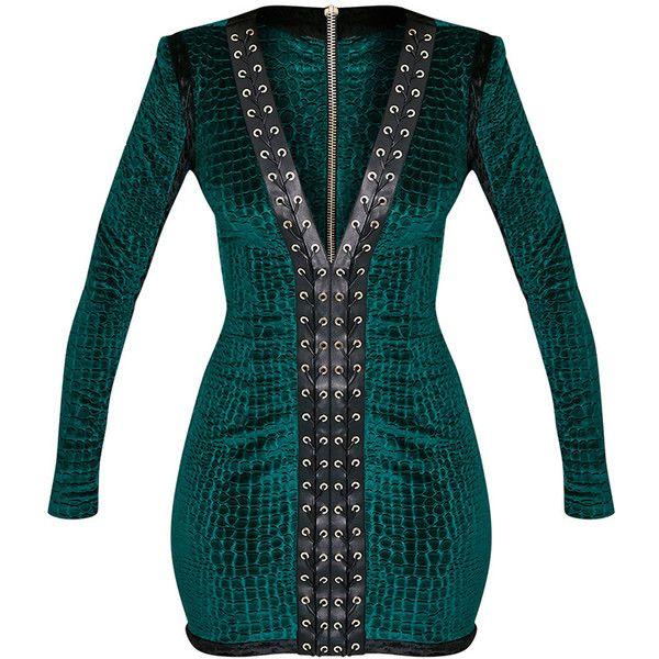 Khelsi Emerald Green Premium Eyelet Velvet Bodycon Dress (£68) ❤ liked on Polyvore featuring dresses, blue body con dress, velvet dress, emerald green velvet dress, body con dress and velvet bodycon dress