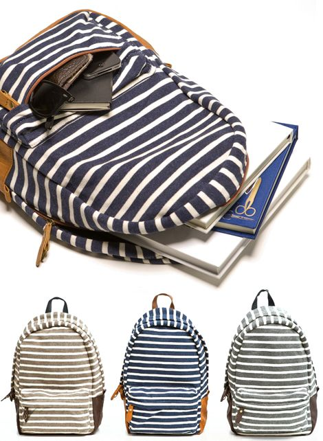 Striped backpacks from Pocketo, via Oh Joy! I want one!!