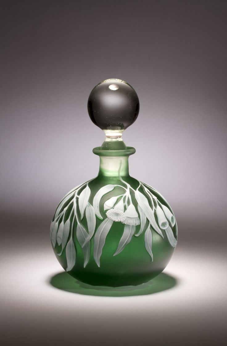 *Alasdair Gordon - hand blown, wheel engraved Art-Glass Perfume  Bottle decorated with 'Gum Nuts