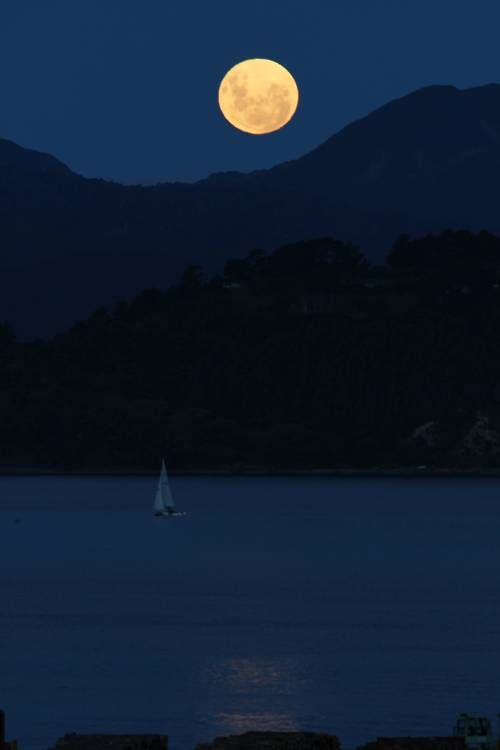 Full moon over Wellington, New Zealand