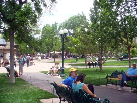 Santa Fe Plaza is the heart of Santa Fe and is the central park.