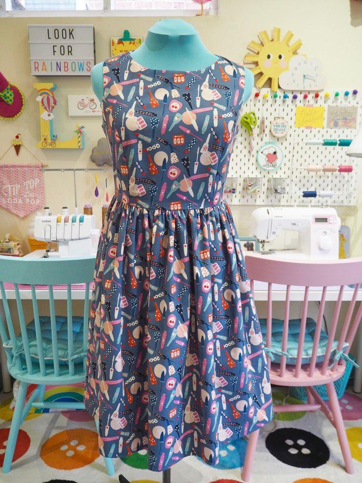 Made to Order Retro Make Up Print Dress - Ladies Handmade Dress
