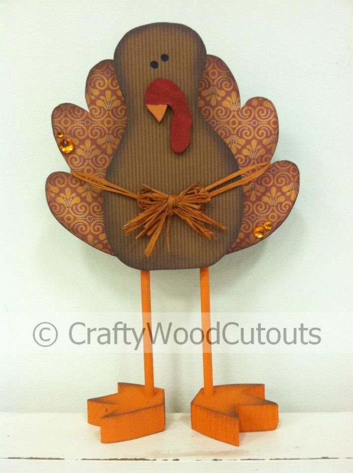 Standing Cute Turkey Thanksgiving Wood Craft from Crafty Wood Cutouts