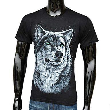 Mænds Fashion vestlige Style 3D Wolf Trykt T-Shirt – DKK kr. 68