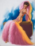 EARL MORAN (American, 1893-1984). Pin-Up in Boa Costume, Brown  & Bigelow calendar pin-up. Pastel on board. 33.5 x 25.5  i... (Total: 1 Items)