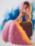 EARL MORAN (American, 1893-1984). Pin-Up in Boa Costume, Brown  & Bigelow calendar pin-up. Pastel on board. 33.5 x 25.5  i... (Total: 1 Items)