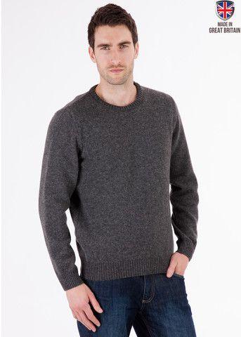 Archer - Coal - Pure Lambswool Jumper - Mens - Wool - Sweater | Sweateronline - Fine British Knitwear