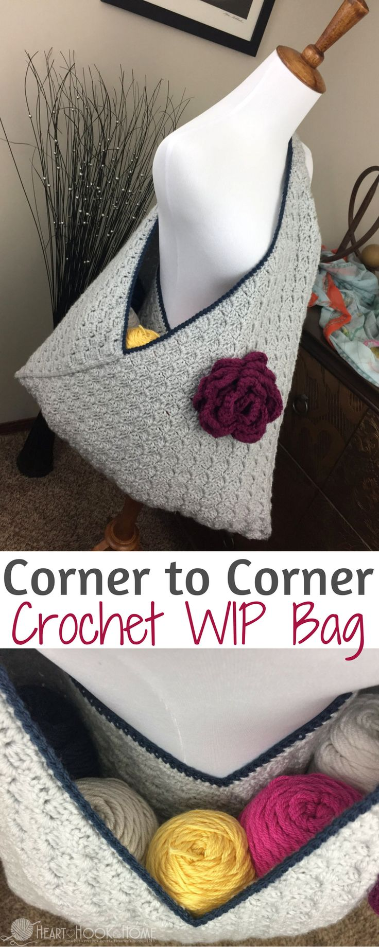 Crochet WIP Bag (Work In Progress) Using Corner to Corner http://hearthookhome.com/crochet-wip-bag-work-in-progress-using-corner-to-corner/?utm_campaign=coschedule&utm_source=pinterest&utm_medium=Ashlea%20K%20-%20Heart%2C%20Hook%2C%20Home&utm_content=Crochet%20WIP%20Bag%20%28Work%20In%20Progress%29%20Using%20Corner%20to%20Corner