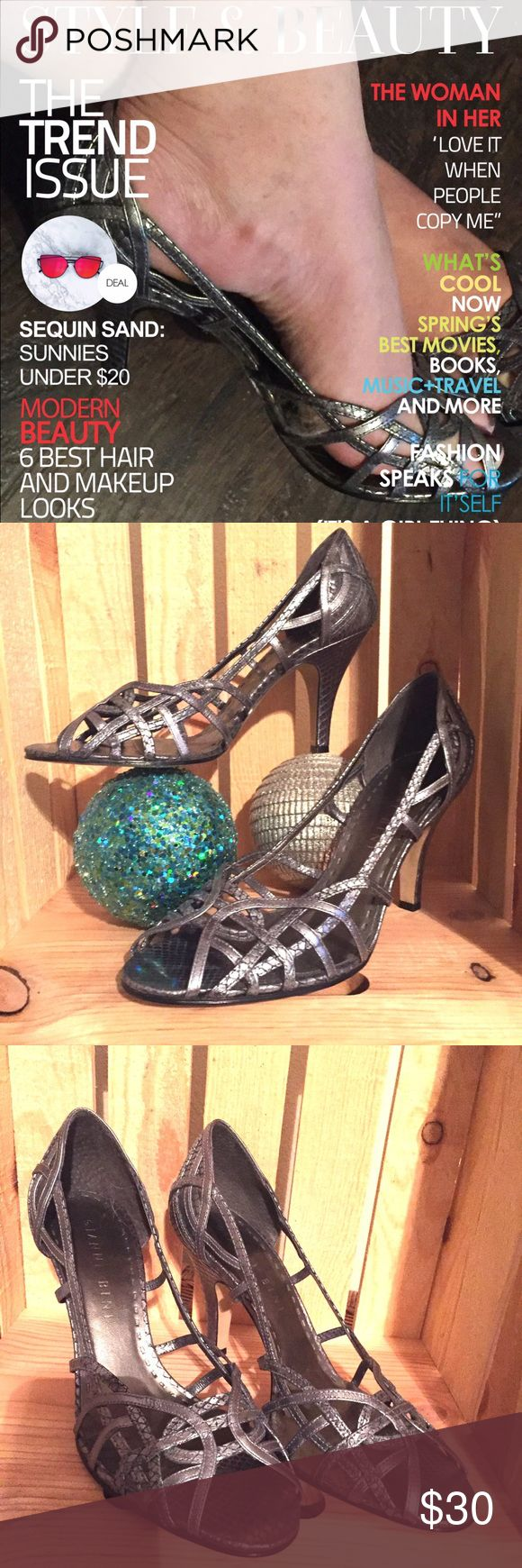 "👠 Gianni Bini gun metal strappy 🎉 heels! Gianni Bini gun metal silver strappy heels with snake pattern. 3"" heels. Never worn. Size 9.5 M. Genuine leather upper. Gianni Bini Shoes Heels"
