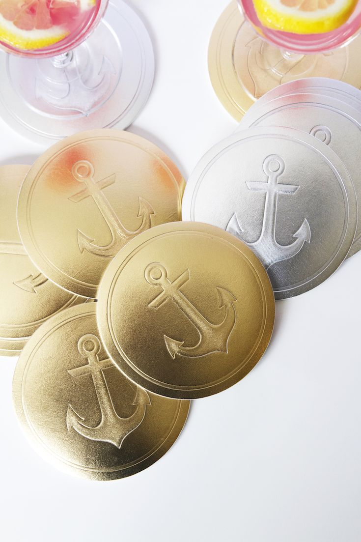 Gold and Silver for days... the Vessel Coasters Metallics Collection - Anchors Aweigh in Gold Leather and Silver Leather.