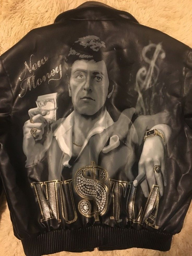 Vintage Scarface Leather Jacket Tony Montana New Money Hustla Size 2XL Al Pacino