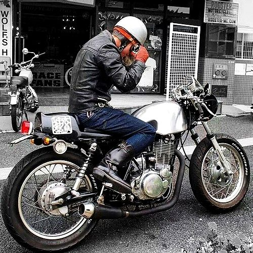 Helmet Goggles Gloves Leathers Yamaha Cafe Racer