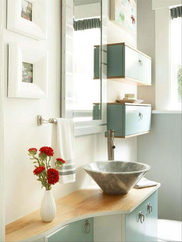 Bathroom Red Flower With Cone Light Also Grey Modern Ceramic Sink And Blue Stained Wooden Racks Besides Rectangel Mirror  Square White Contemporary Frame Photo   Design Moves from Tricked-Out Bathroom