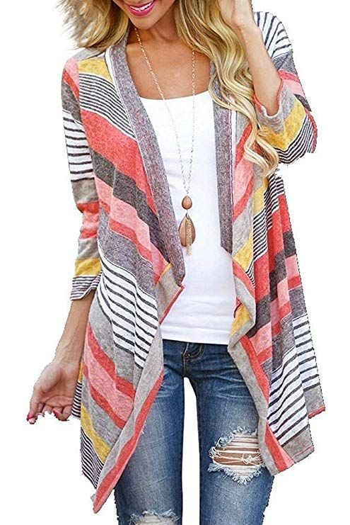 5b990df52f Euovmy Women s 3 4 Sleeve Cardigans Striped Printed Open Front Draped Kimono  Loose Cardigan