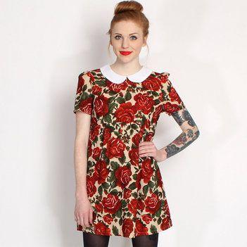 Hearts & Bows Cream Romario Floral Peter Pan Collar Dress main image