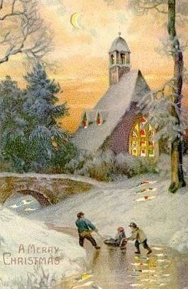 Beautiful Snowy Village Vintage Christmas card!