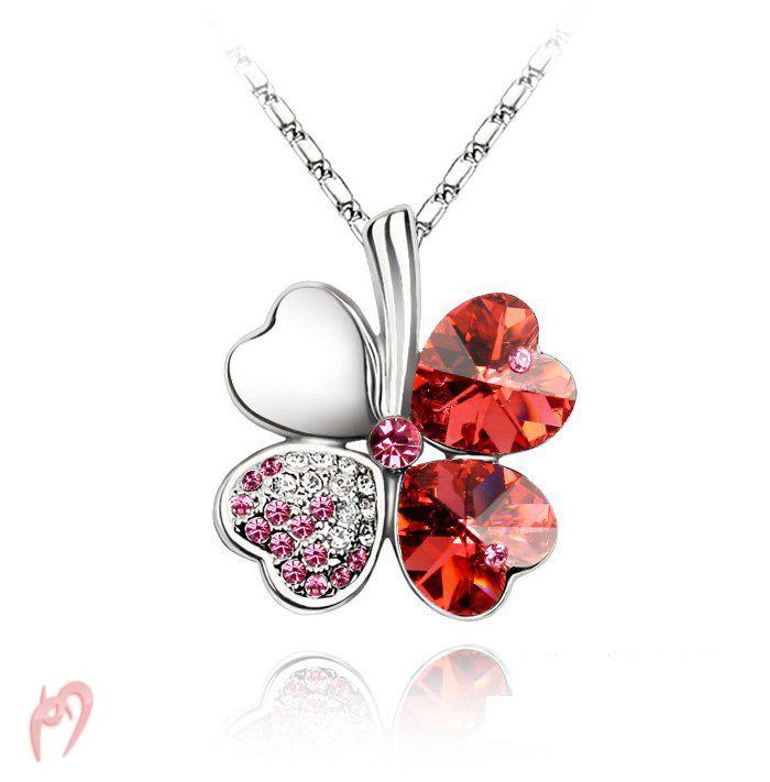 Four Leaf Clover Necklace - Red #clover #fourleafclover #clovernecklace #fourleafclovernecklace